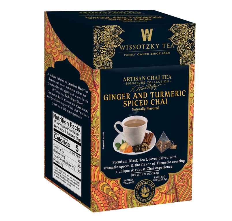 Wissotzky Tea Signature Collection, Artisan Chai Tea, Ginger and Turmeric Spiced Chai, 16 Pyramid Tea Bags