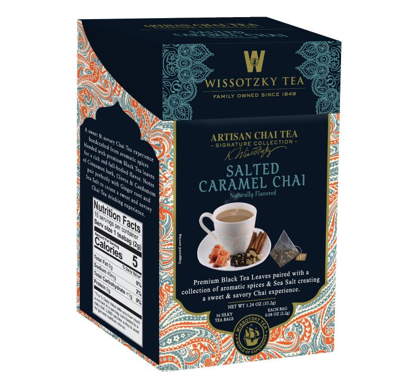 Wissotzky Tea Signature Collection, Artisan Chai Tea, Salted Caramel Chai, 16 Pyramid Tea Bags